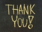 Thank you blackboard sign thank you written with chalk on black chalkboard